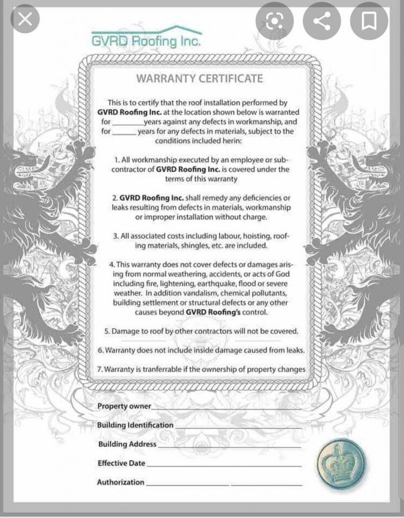 GVRD Roofing Warranty